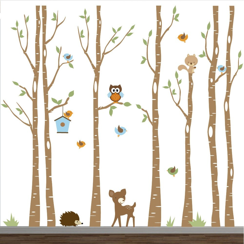 Nursery wall decals birch trees decal tree wall decal forest for Birch trees wall mural