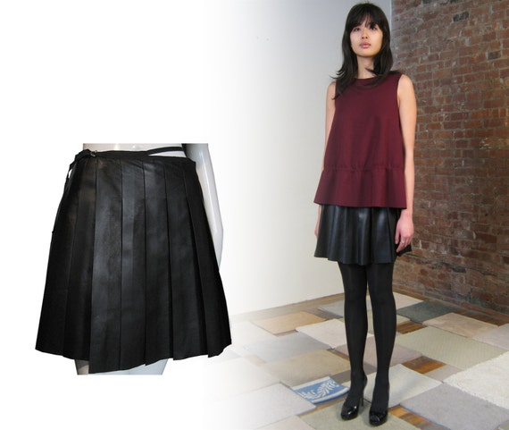 BLACK LEATHER skirt SKATER skirt / black pleated skirt / leather pleated skirt / pleated miniskirt / real leather flared skirt