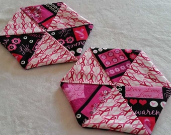 Hexagon Pinwheel Potholders (Set of 2)  -  Breast Cancer Awareness - Pink Ribbon with Black
