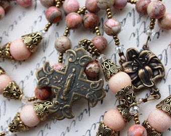 Rosary Beads in Orange Jasper and Antique Replica Findings