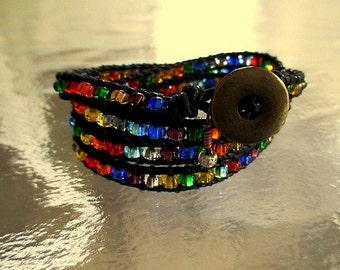 Multicolored Quad Wrap Bracelet