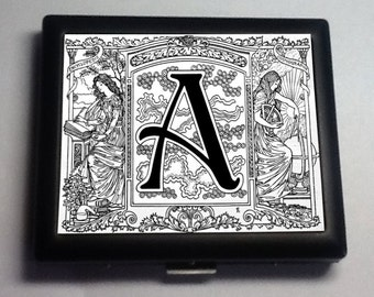 Monogram  Your  Initial  Black Metal Wallet Cigarette Case No. 1142