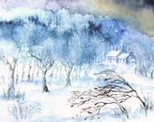 Stopping by Woods on a Snowy Evening  - Original Watercolour Ireland - 11 x 7 inches