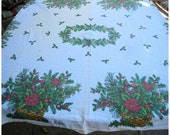 Vintage 70s Christmas Tablecloth The Ryans Family Holly Xmas Basket Pine Holiday Linens Rectangle 51.5 X 67