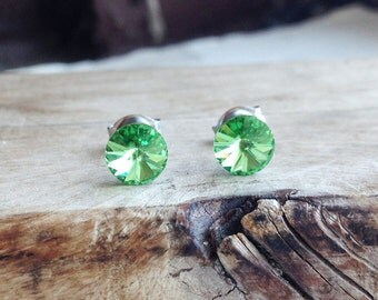 Get 15% OFF - 6mm Swarovski Crystal Peridot Green Crystal Silver Surgical Steel Post Earring - 4th of July SALE 2017