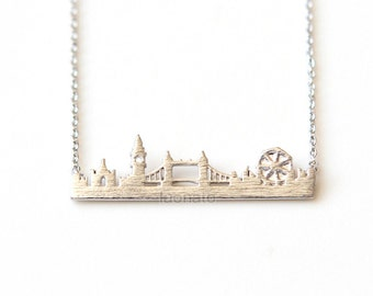 Cityscape Necklace- London / choose your color- gold, silver and pink, skyline necklace