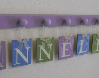 Baby Girl Nursery, Decor Wall Sign, New Shower Gift - 8 Wooden Letter Plaques in Light Purple / Blue / Green Name Personalized for ANNELISE