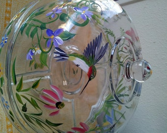 cake plate with hummingbird, includes ladle for use as punch bowl.