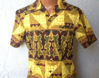 60s VTG Men's Tiki Mad Man Atomic Hawaiian Shirt medium