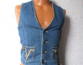 70s VTG Men's Denim Vest Waistcoat small