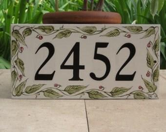 House Numbers Tile OLIVE GREEN VINE Custom Hand Painted