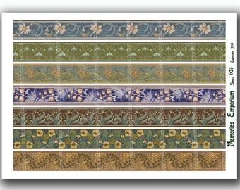 Art Nouveau Borders Digital Collage Sheet DIY Nouveau Strips Floral Patterns for Paper Decoupage Clipart Frames Printable Download 623
