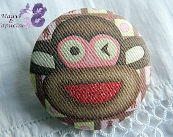 Fabric buttons, monkey, 0.86 in / 22 mm