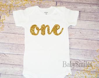 First Birthday Shirt One Birthday Shirt Baby Girl Birthday One Girl Birthday Gold One Shirt Girl First Birthday Gold Glitter Shirt Gold 103