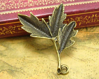 10 pcs Antique Bronze Tree Branch Charms Leaf Charms 35x27mm CH2065