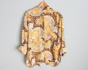 Vintage 90s Seashells and Leopard SILK Long Sleeve Button Up Blouse Shirt // womens large
