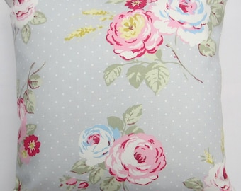 Grey Floral Cushion Cover, cottage chic Cushion Cover, gray and pink, English Rose pillow cover, Floral Pillow Case, Various Size Options