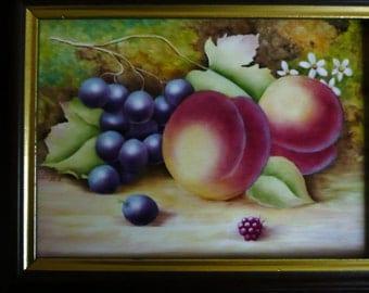 Hand painted plaque, bone china plaque, fruit design,