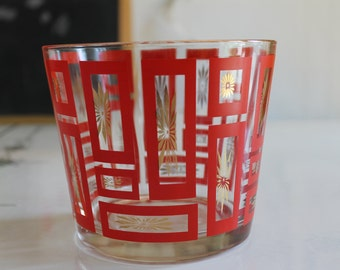 Vintage Mid Century Painted Red & Gold Glass Ice Bowl / Bucket Rectangles NICE
