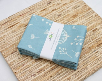 Large ORGANIC Cloth Napkins - Set of 4 - (N2619) - Blue Modern Reusable Fabric Napkins