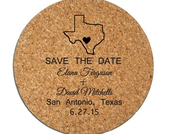 50 Save the Date Personalized Cork Coasters Custom Wedding Announcements