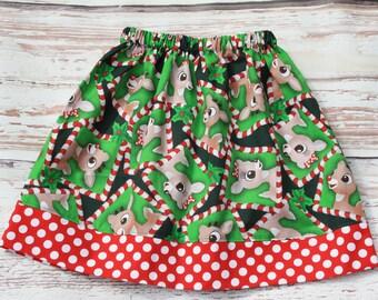 Girls Rudolph the Reindeer Twirl Skirt