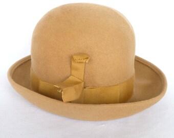 VINTAGE CAMEL Hair HAT /Vintage Jacki ladies hat