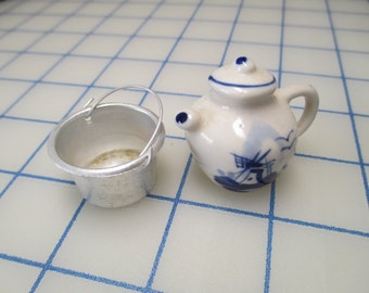 Vintage Miniature Porcelain Pitcher OR Metal Bucket