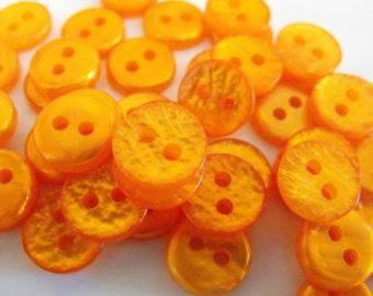 "50 Orange Bumpy Round Buttons Size 7/16"""