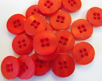"""21 Red Square Center Round Buttons Size 9/16""""."""