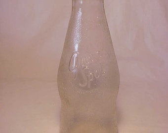 1947 Green Spot Fancy One Quart Embossed Milk Bottle, Great Wedding Decor