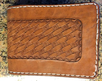 Handtooled Bifold Brown Horsehide Wallet with Geometric Basketweave