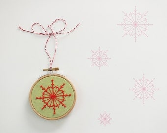 Christmas ornament, Embroidery holiday décor, Christmas tree decor, snow flake, Green and Red Christmas decoration, stocking stuffer - 3""
