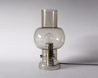 Modernist Large Clear Toned Glass Table Lamp  - Raak 60s