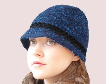 Blue Tweed & Black Velvet Cloche Hat, Cashmere Blend Knit Beanie with Brim, in Navy Blue Wool and Angora Boucle Knit with Black Velvet Trim