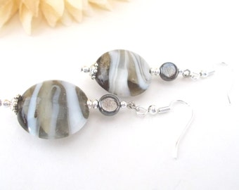 White Gray Lampwork Earrings, Clip On Earrings, Dark Gray Pewter Drop Earrings, Beaded Earrings, Glass Drop Earrings, Birthday Gift for Her