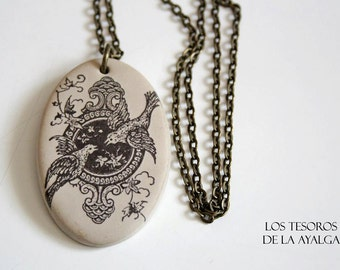 birds necklace - illustration pendant • handmade