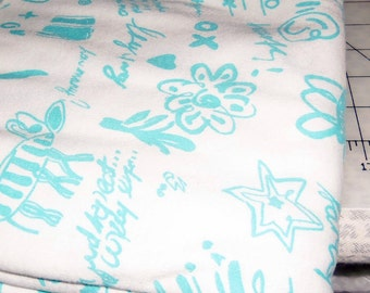 A Great Piece of A Turquoise Design on White Stretch Cotton Blend Fabric, 2 yards