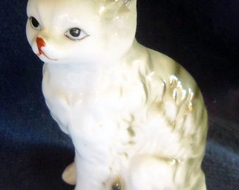 Cute LIttle Bone China Kitten Figurine, About 3 Inches Tall
