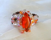 HandCrafted One of a Kind Copper Fire Opal Swarovski Marquise and Crystal Seed Bead Crocheted Ring