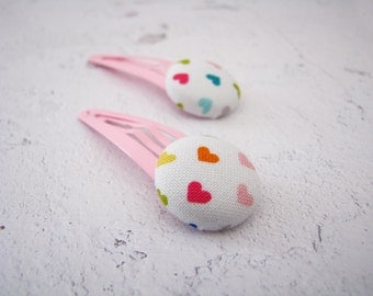 Colorful Hearts Fabric Button Hair Clips for Girls - Kids Gift