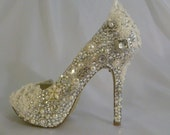 Cinderellas Wish Wedding Shoes .. Crystal Pearl and Lace Wedding Shoes .. High Heels .. FREE Shipping within the USA