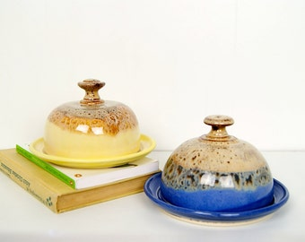 Royal Blue Butter Dish / Cheese Dish, MADE TO ORDER by RiverStone Pottery