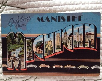 Greetings from Manistee Michigan PC Letter Card