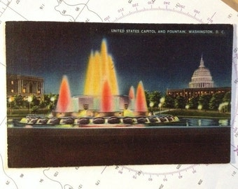 United States Capitol and Fountain 1945 post VG Condition