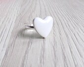 White Heart Ring Heart Jewelry Valentine's day Ring Valentine's day Jewelry gift for her FREE SHIPPING