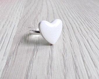 White Heart Ring Heart Jewelry Valentine's day Ring Valentine's day Jewelry gift for her FREE SHIPPING