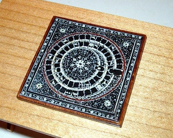 Game of Goose Game Board, Medieval Dollhouse Miniature 1/12 Scale, Hand Made