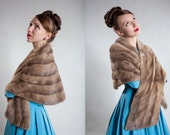 Vintage 1950s Mink Fur Stole - Pastel Wedding Wrap - Winter Bridal Fashions