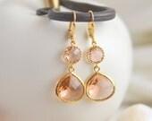 Champagne Bridesmaid Earrings. Jewel Bridesmaid Earrings. Bridal Drop Earrings. Gold Fashion Earrings. Wedding Jewelry. Christmas Gift.